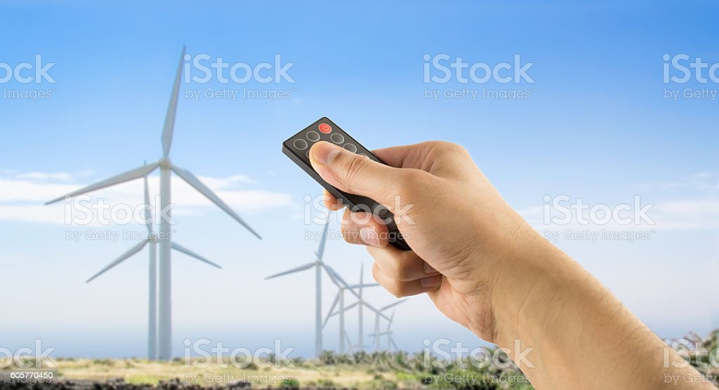 controlling the wind turbines stock photo