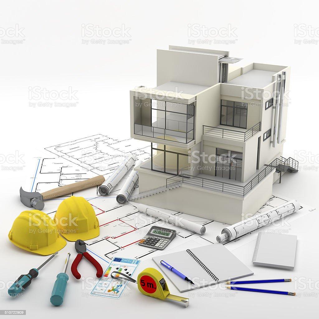 Contrucci?n de una Casa. Real Estate. Reparaciones y reformas stock photo