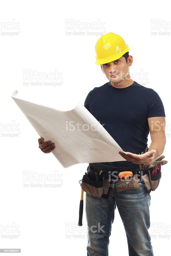 Contruction Worker Contractor Reading Blue Print on White Background royalty-free stock photo