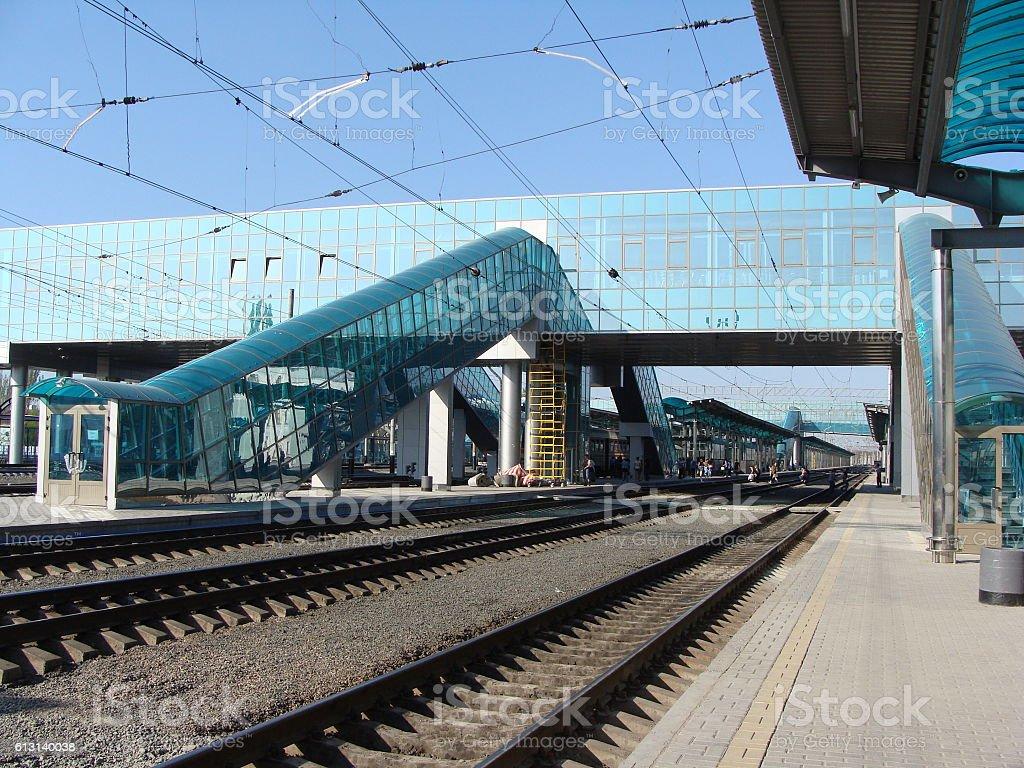Contunuing Construction of a Modern Railway Station Platform stock photo