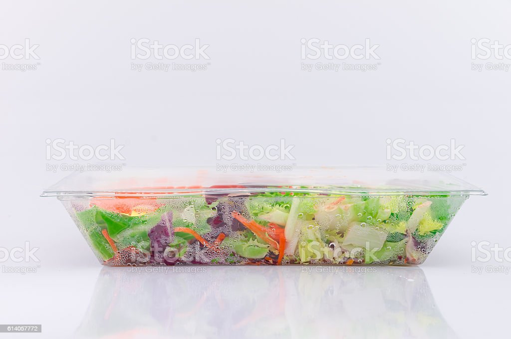 Convenience product salad in a plastic container stock photo