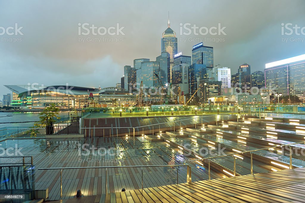 Convention Center and Central Plaza, Evening, Hong Kong stock photo