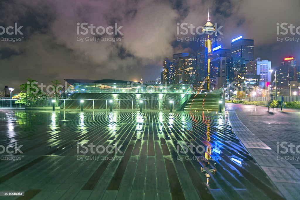 Convention Center and Central Plaza, Hong Kong stock photo