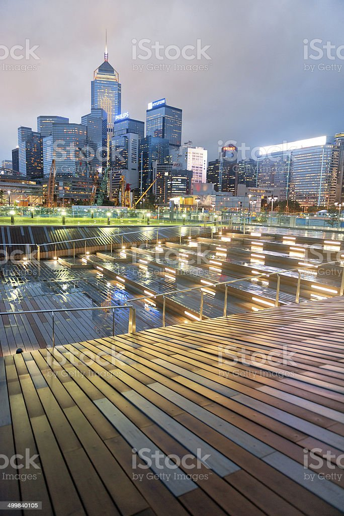 Convention Center and Central Plaza, Rainy Evening, Hong Kong stock photo
