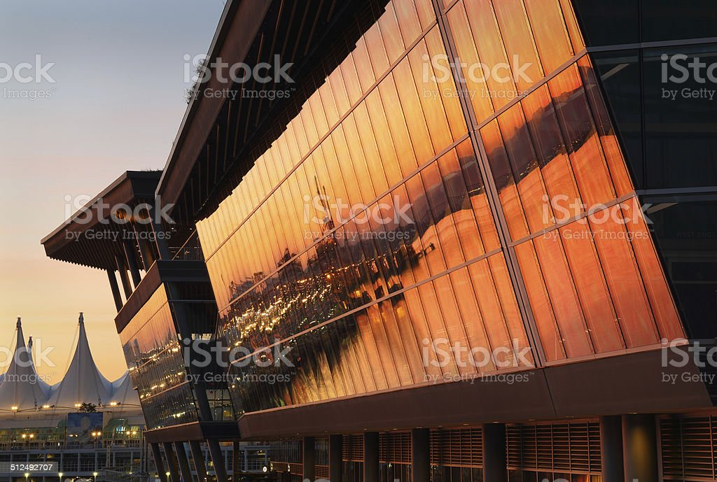 Convention Center Sunrise, Vancouver stock photo