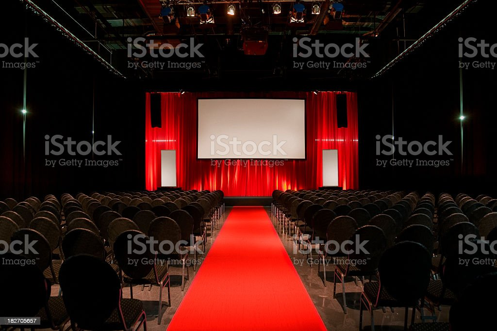 Convention hall with red decor royalty-free stock photo