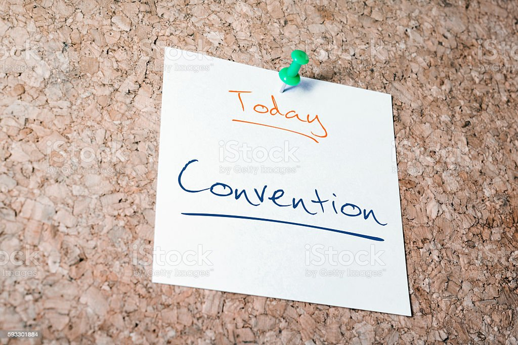 Convention Reminder For Today On Paper Pinned On Cork Board stock photo