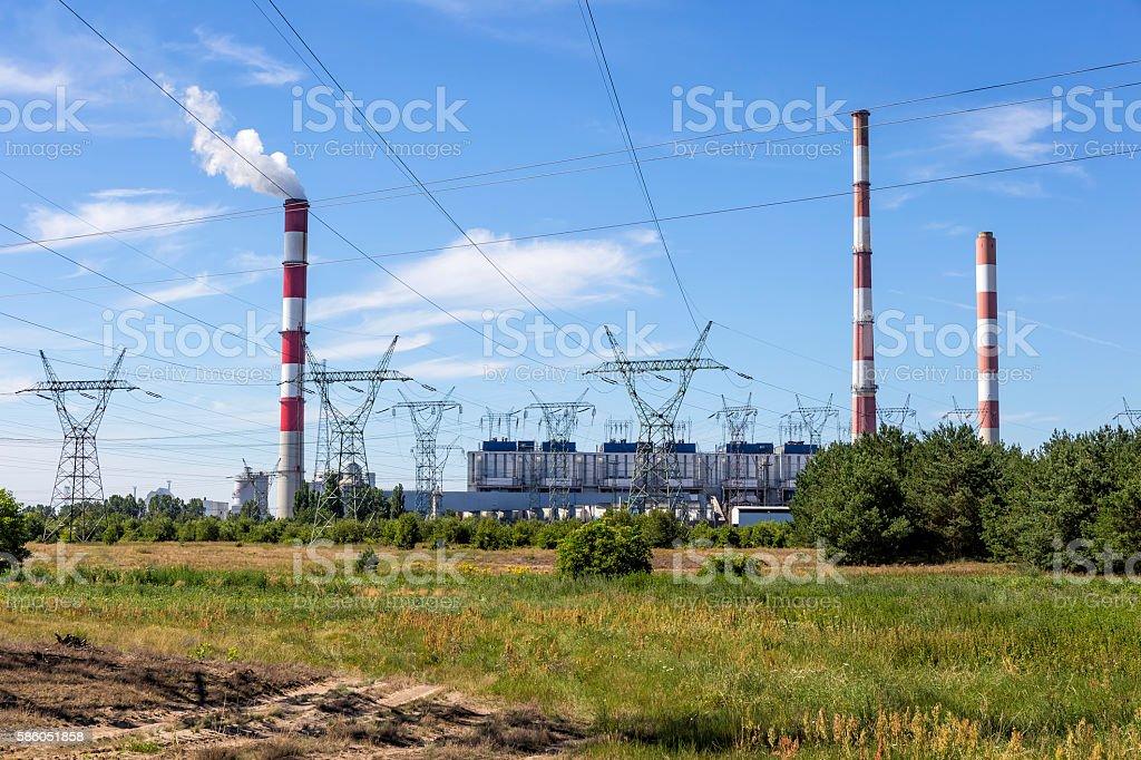 Conventional power station, Dolna Odra, Poland stock photo