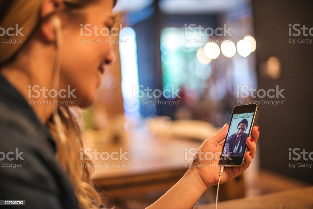 Conversating with friend stock photo