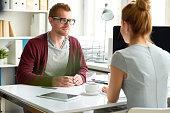 Conversation between business partners
