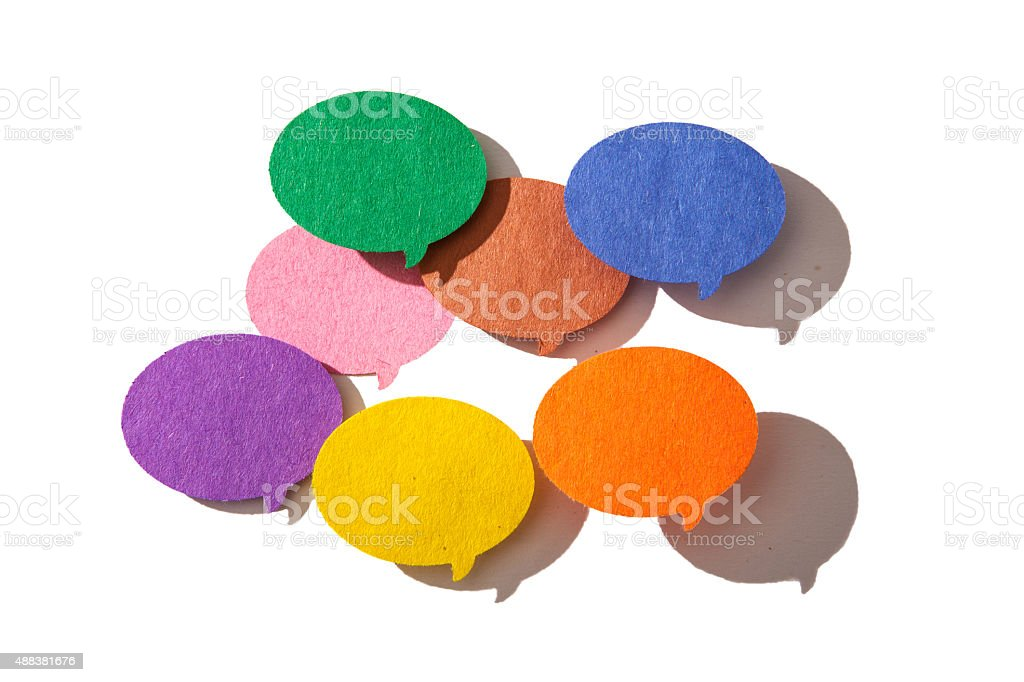 Conversation or thought bubbles on a white background stock photo