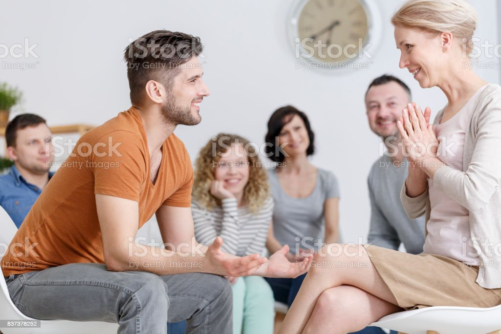 Conversation with psychologist stock photo