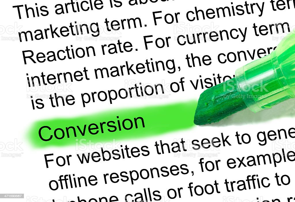 conversion definition highlighted in dictionary stock photo