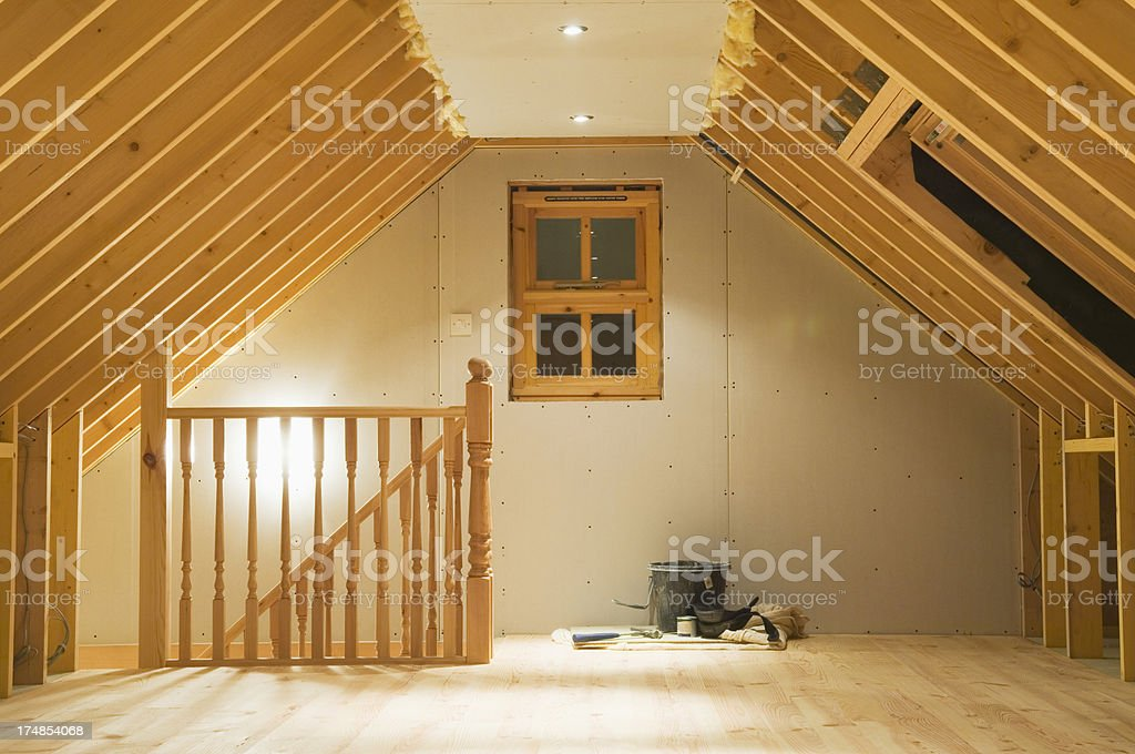 Converted attic space royalty-free stock photo