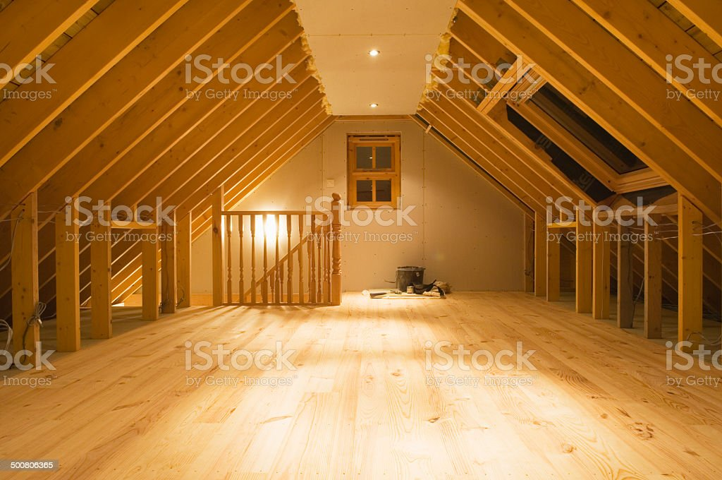 Converted attic space stock photo