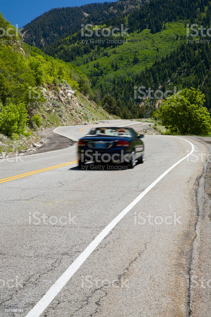 Convertible on Mountain Road stock photo