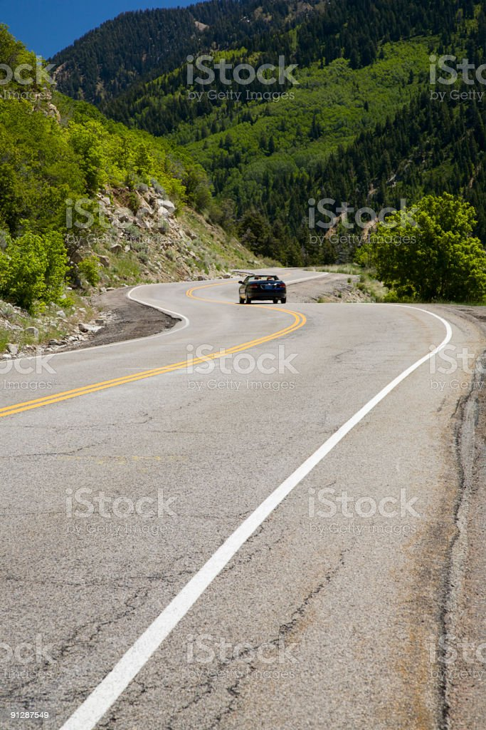 Convertible on Mountain Road royalty-free stock photo