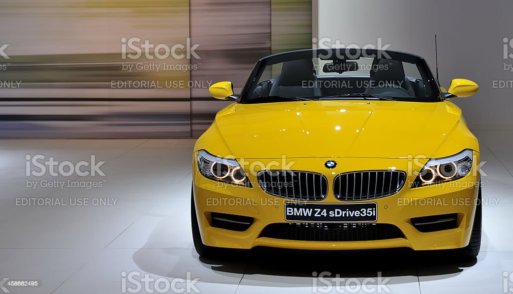 BMW Z4 convertible sports car front view stock photo