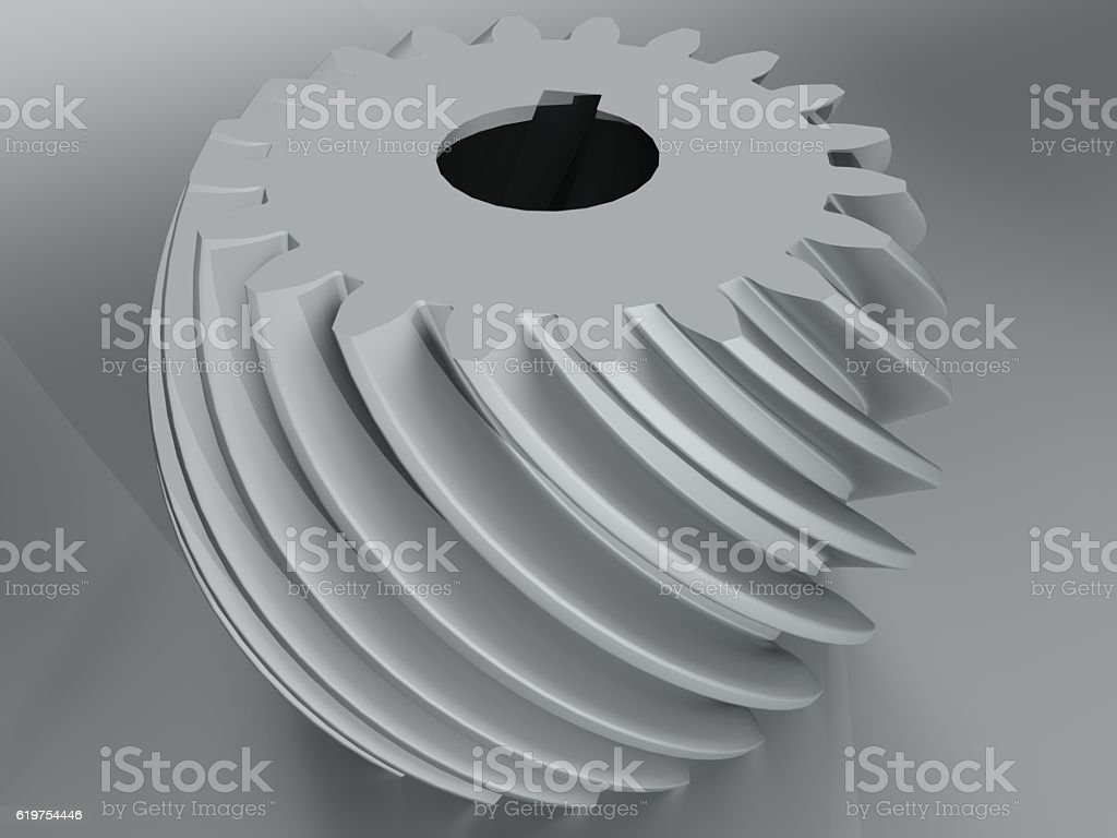 Convex helical gear with involute profile toothing stock photo