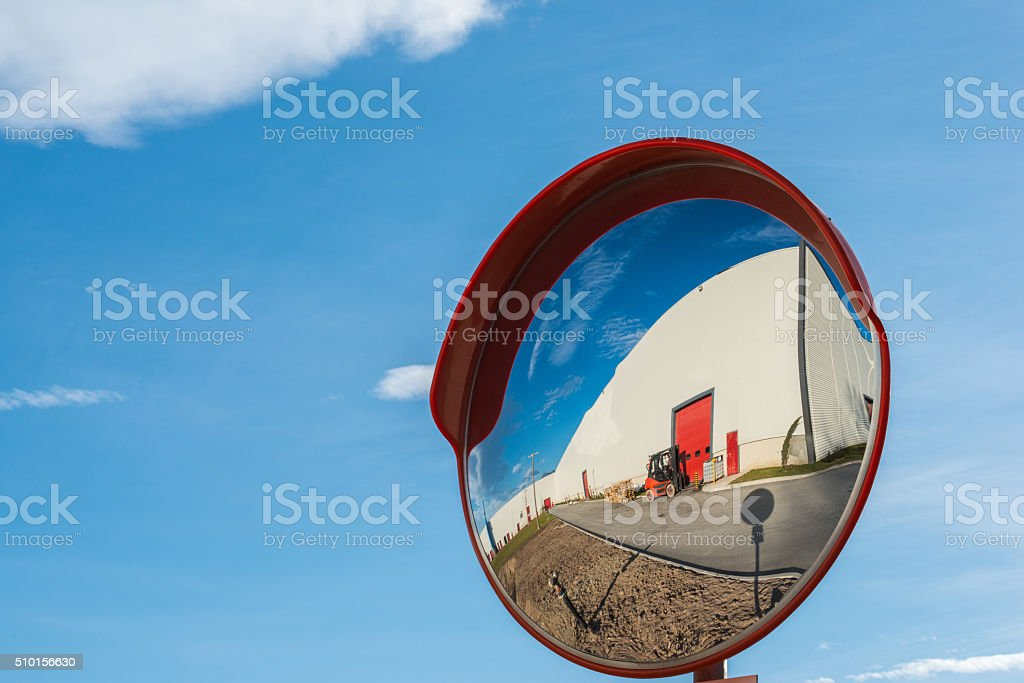 Convex mirror stock photo