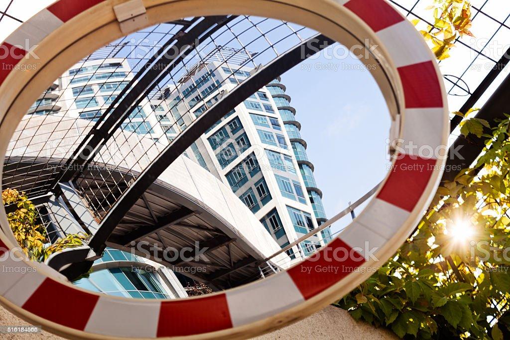 Convex mirror signalization stock photo