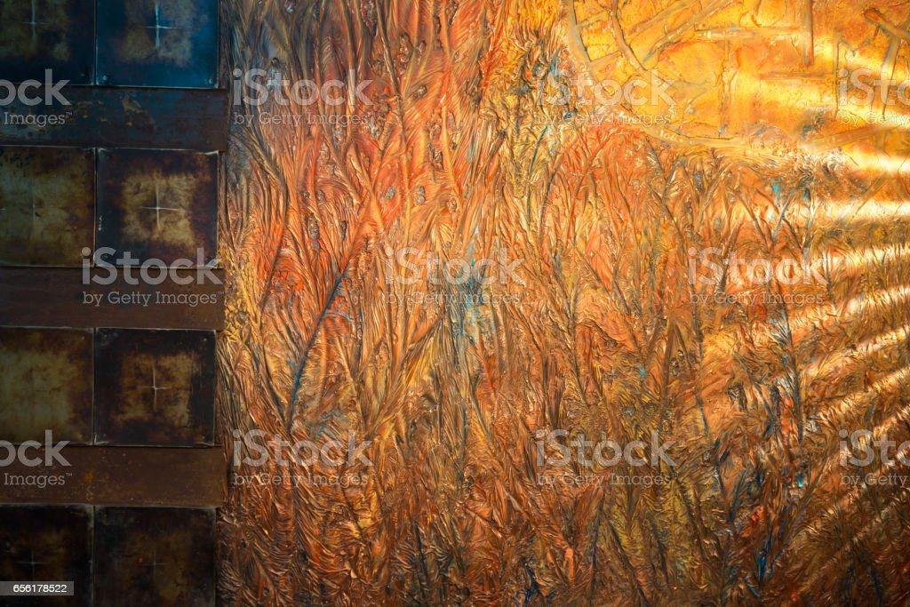 Convex Сopper-colored Texture Shining In Lighting stock photo