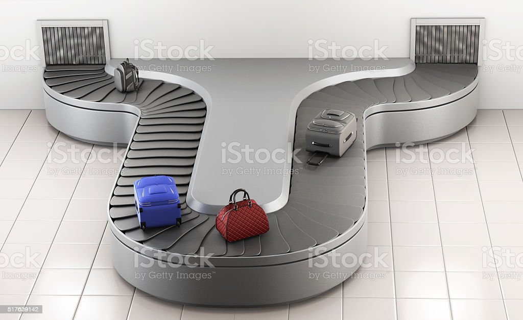 Conveyer belt at the airport. Baggage claim. 3d rendering stock photo