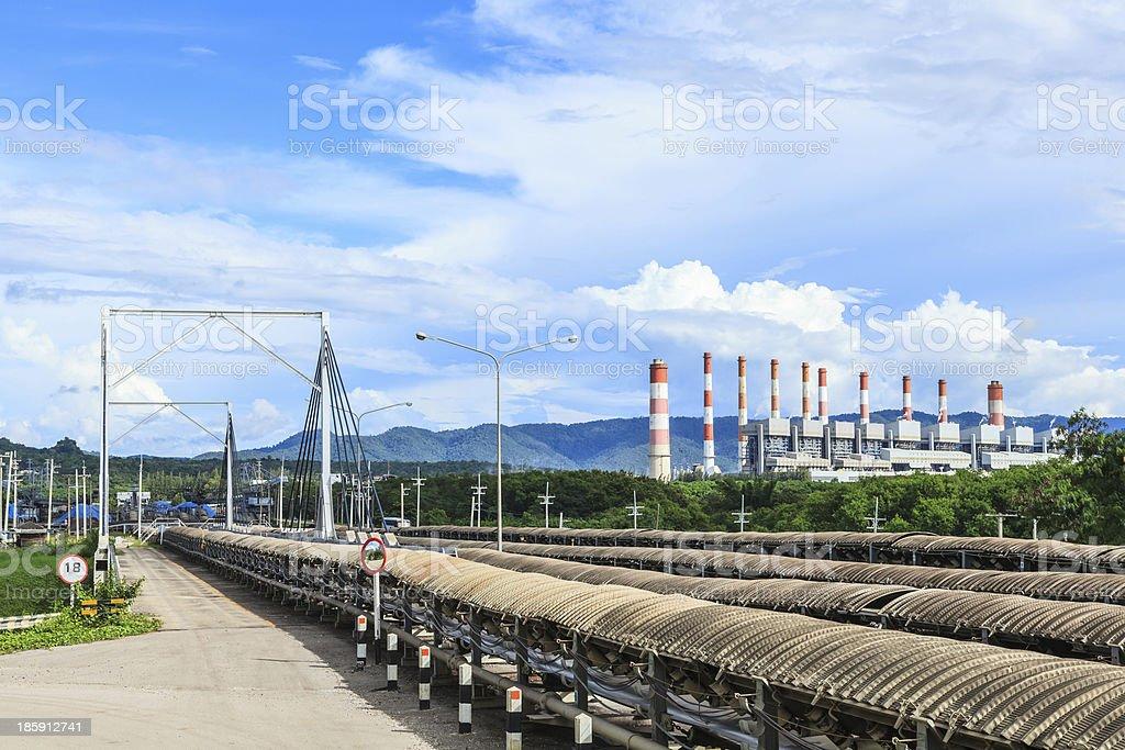 Conveyor and Power Plant stock photo