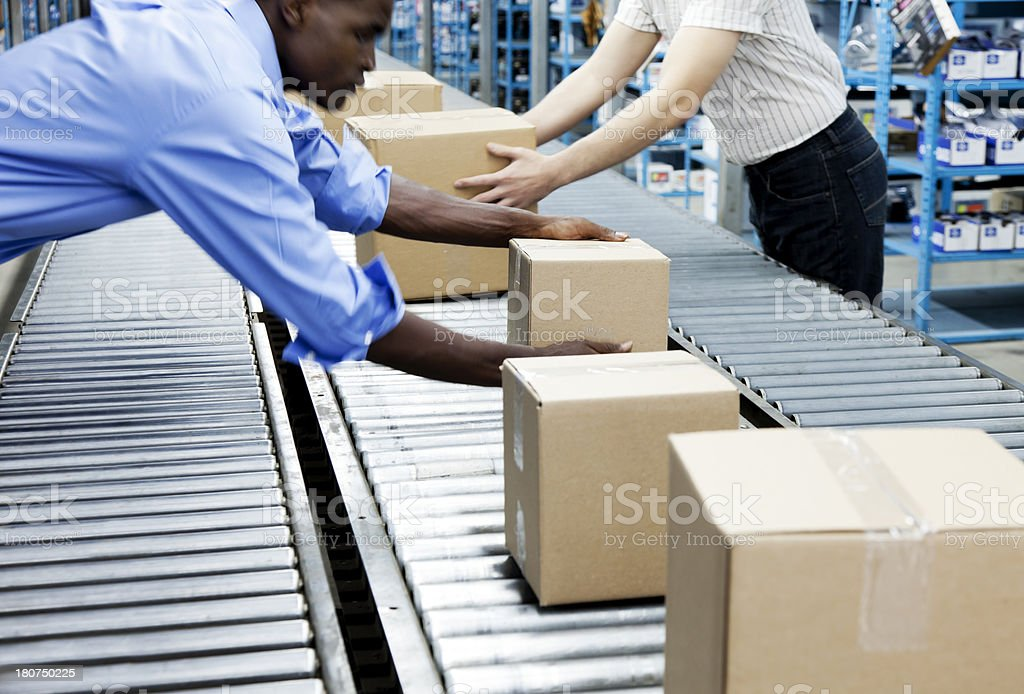 Conveyor Belt and Workers royalty-free stock photo