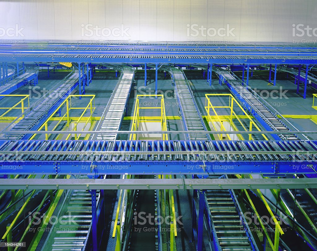 Conveyor Belt Factory Equipment stock photo