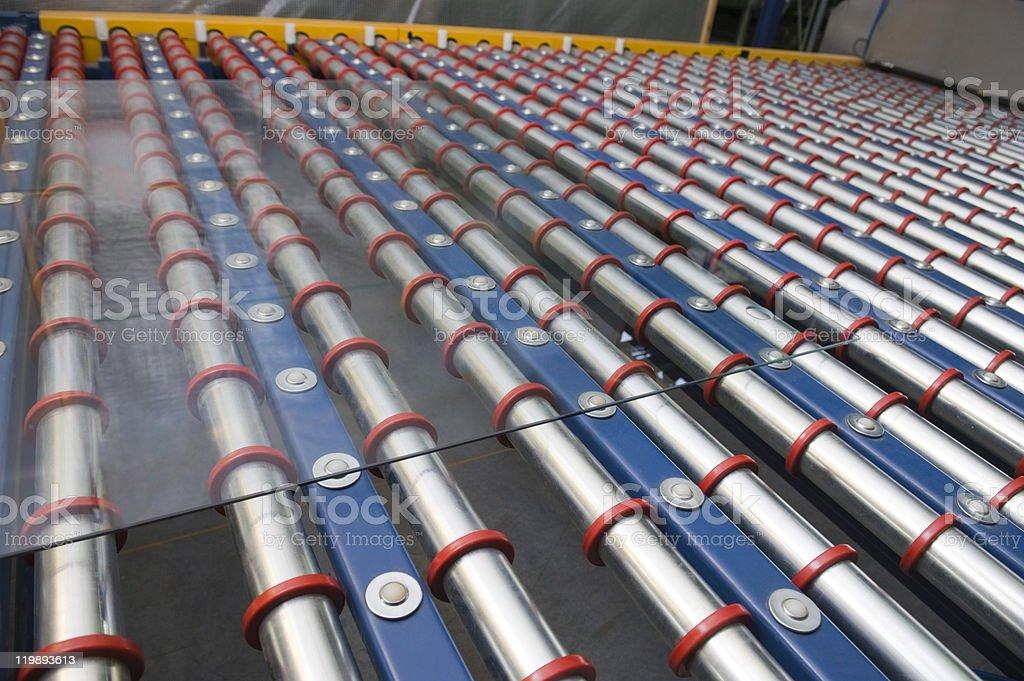 Conveyor belt for a window pane royalty-free stock photo