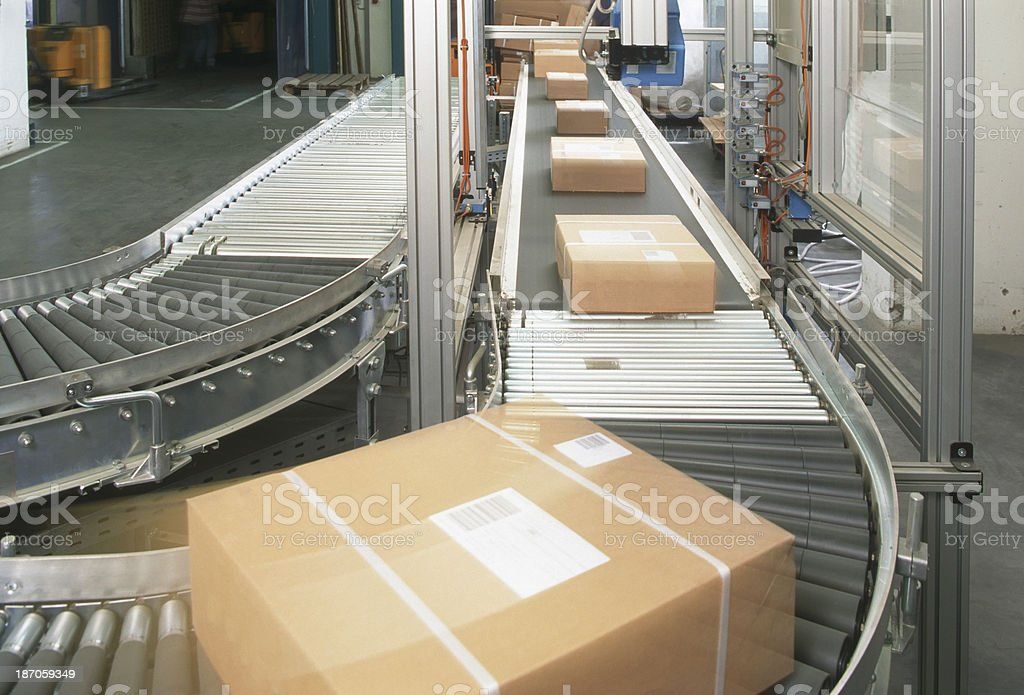 Conveyor belt for postal boxes stock photo