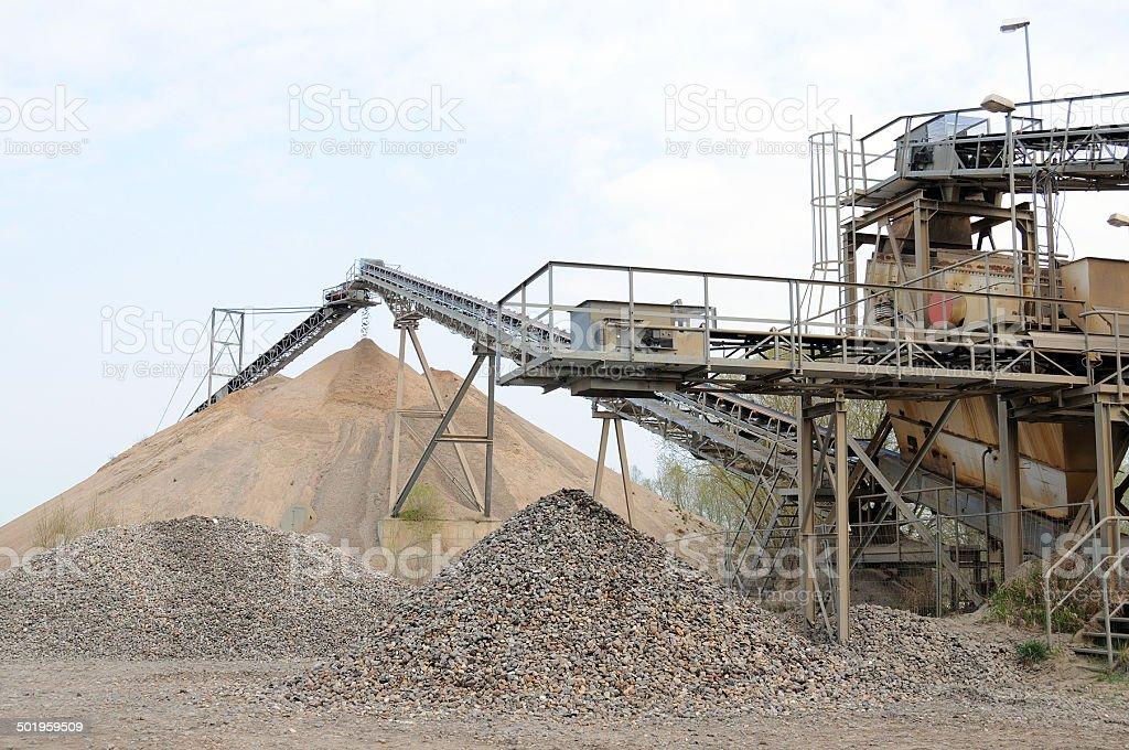 Conveyor belt in a gravel pit stock photo