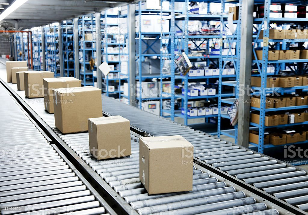 Conveyor Belt with Boxes stock photo