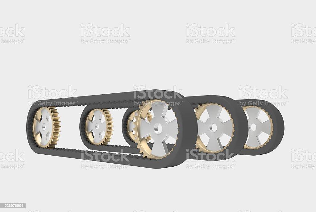 conveyor belt with steel cogwheels stock photo