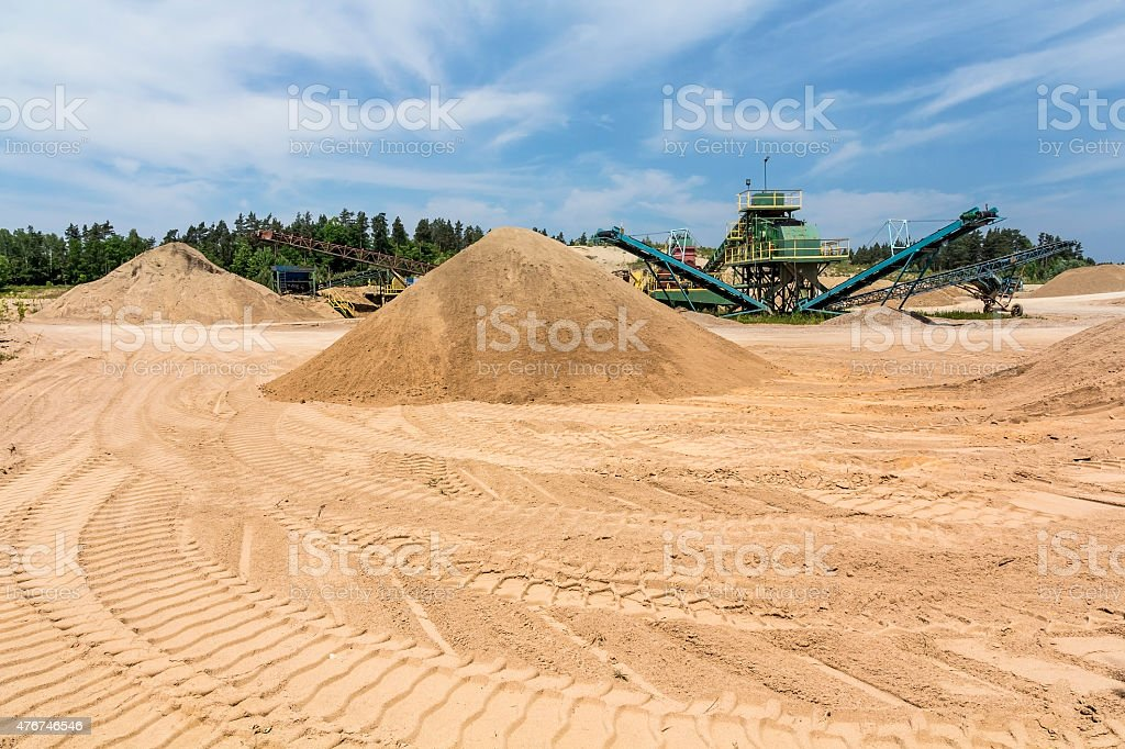 Conveyor machine in sand Quarry stock photo