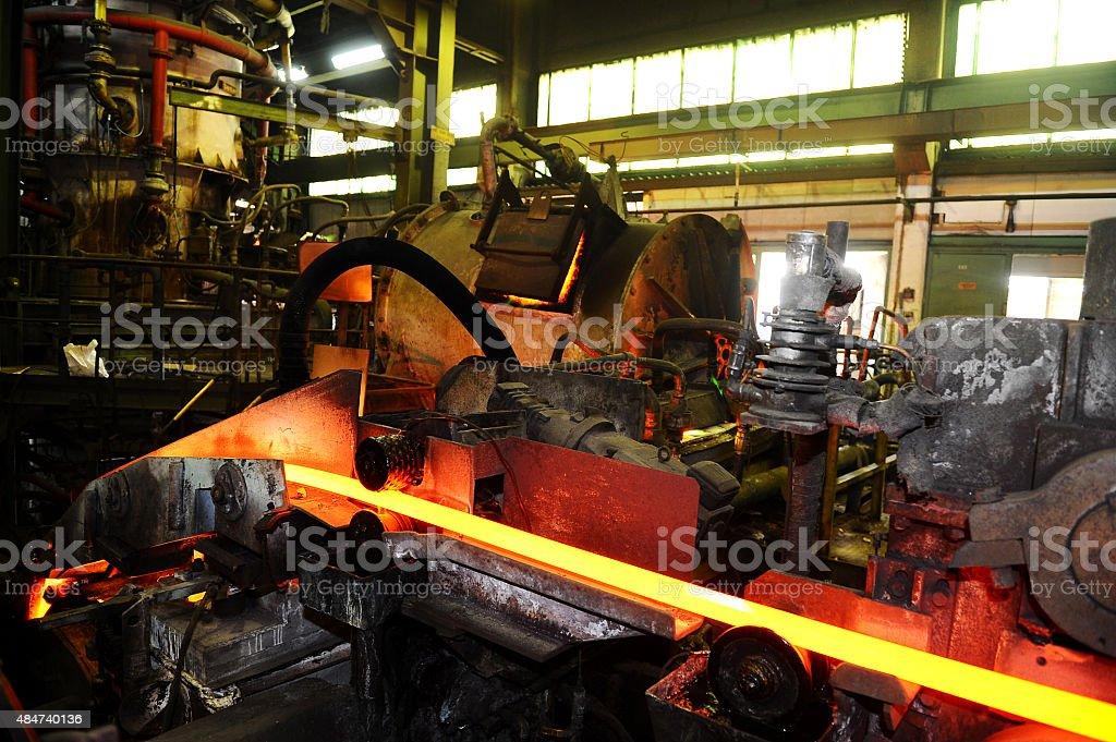 Conveyor system in steel factory stock photo
