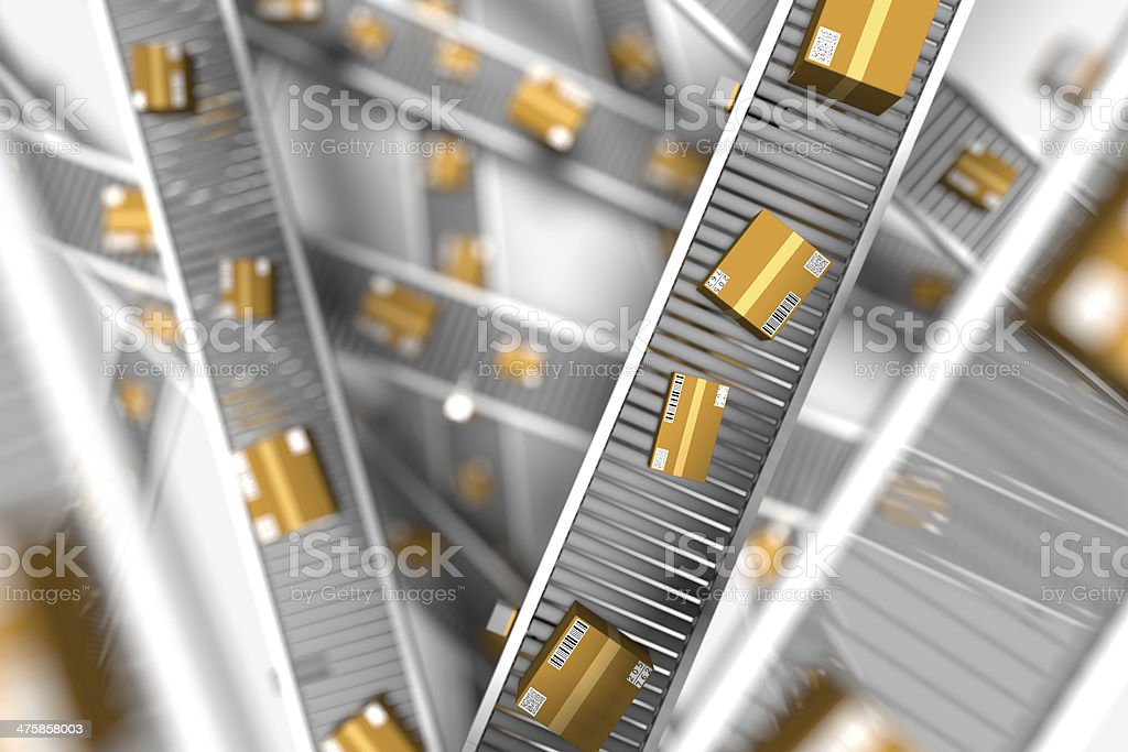 conveyors with parcels royalty-free stock photo