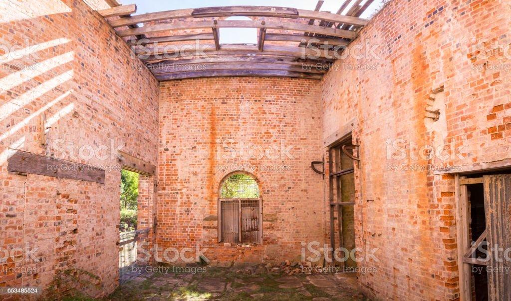 Convict house in Darlington on Maria Island, Tasmania, Australia stock photo