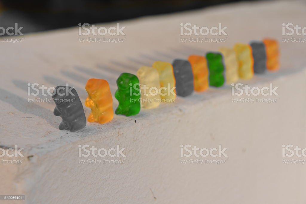 convoy of gummy bears stock photo