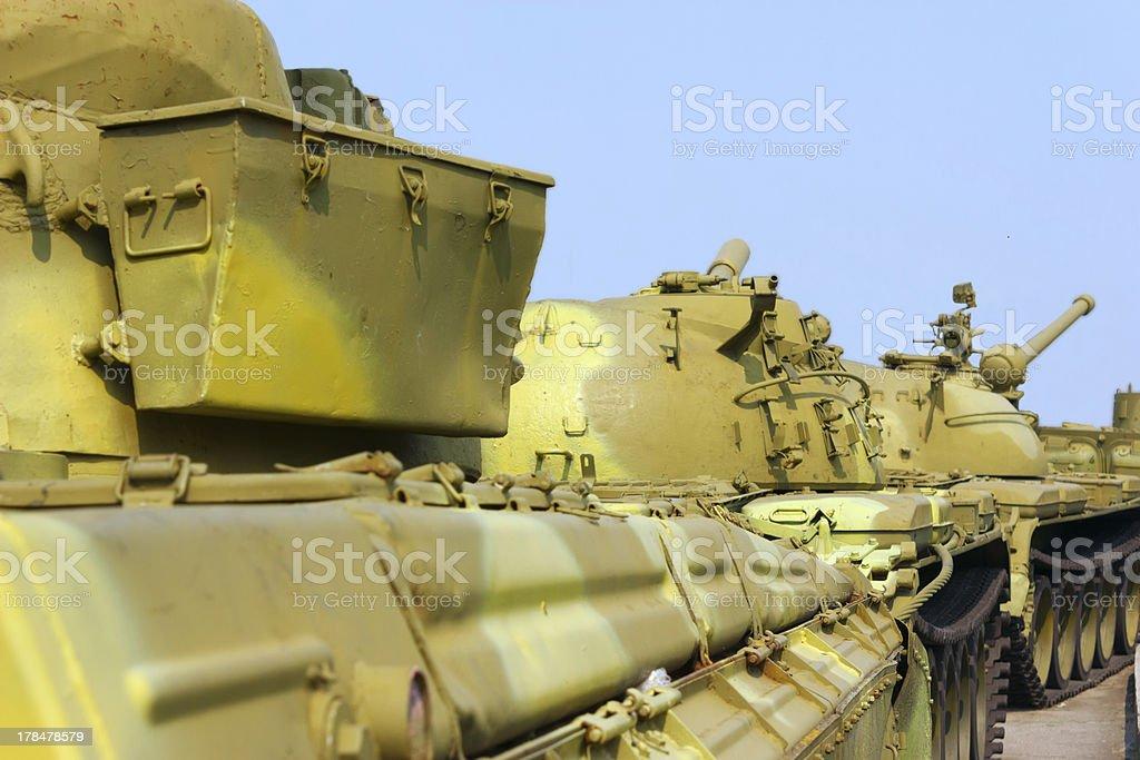 convoy of military tanks stock photo