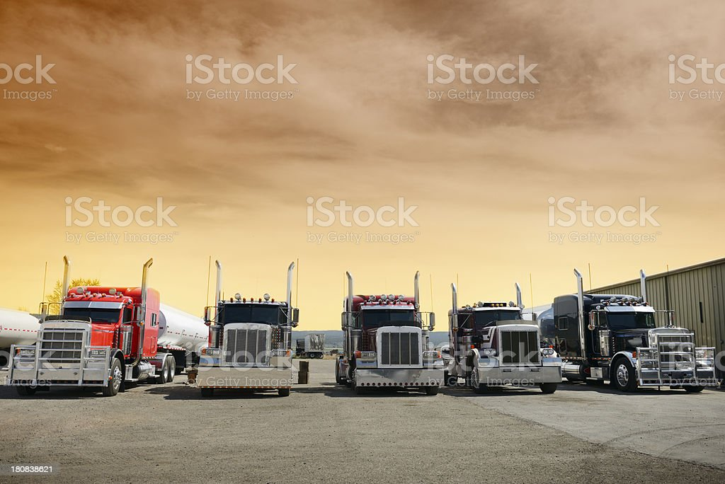 Convoy Trucks in a Row, California stock photo