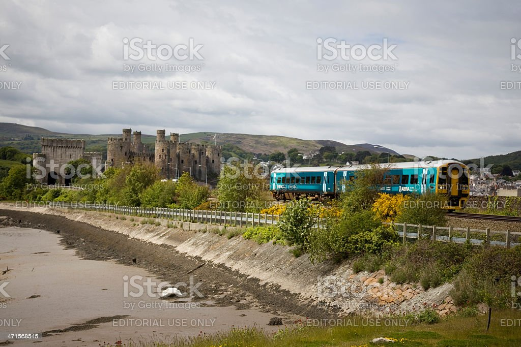 Conwy Castle: Arriva Trains Wales travelling through the welsh countryside stock photo