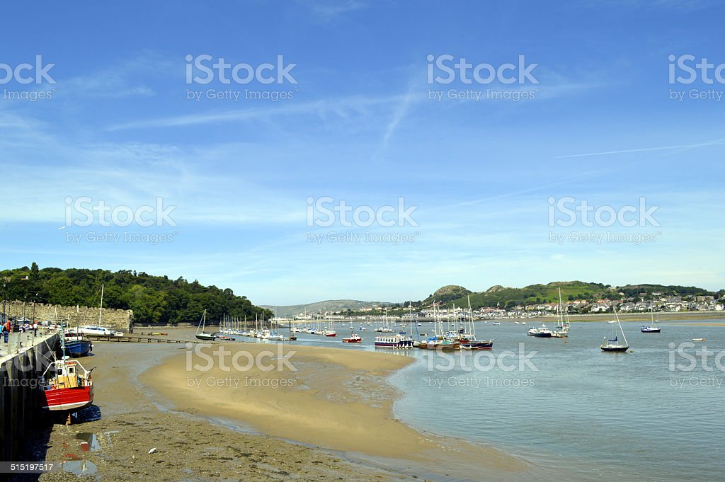 Conwy harbour in North Wales stock photo