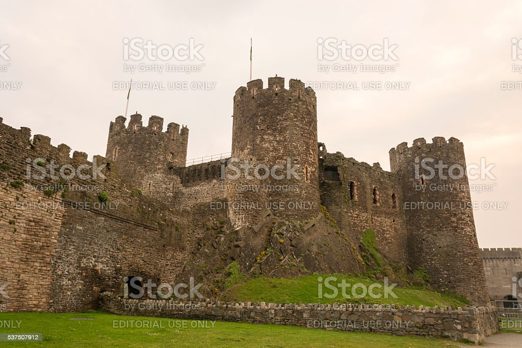 Conwy (Conway) Harbour, Market Town and Castle stock photo