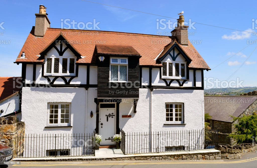Conwy mock Tudor style house in Wales stock photo