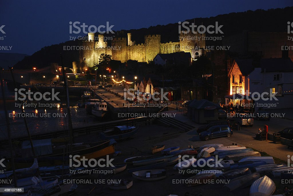 Conwy, Wales at Night royalty-free stock photo