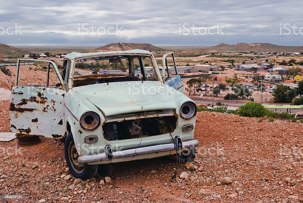 Coober Pedy, South Australia, rusty car stock photo
