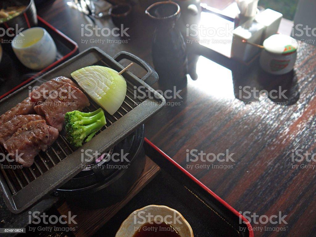 Coocking Japanese beef stock photo