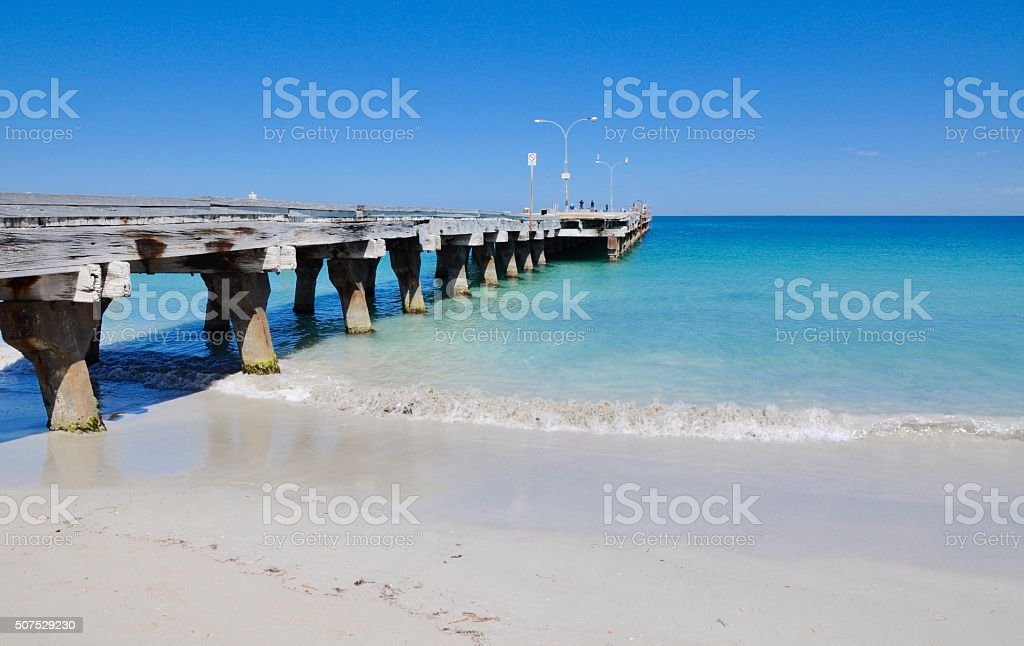 Coogee Beach Jetty with Seascape stock photo